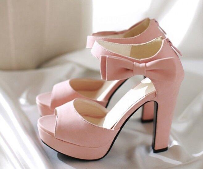 Elegant Sandals color pink high heel 12 cm ca bow side cod. 8057