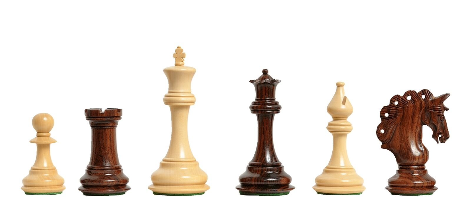 The Mayfield Series Chess Set - Pieces Only - 4.4  King - Indian Rosewood & Natu
