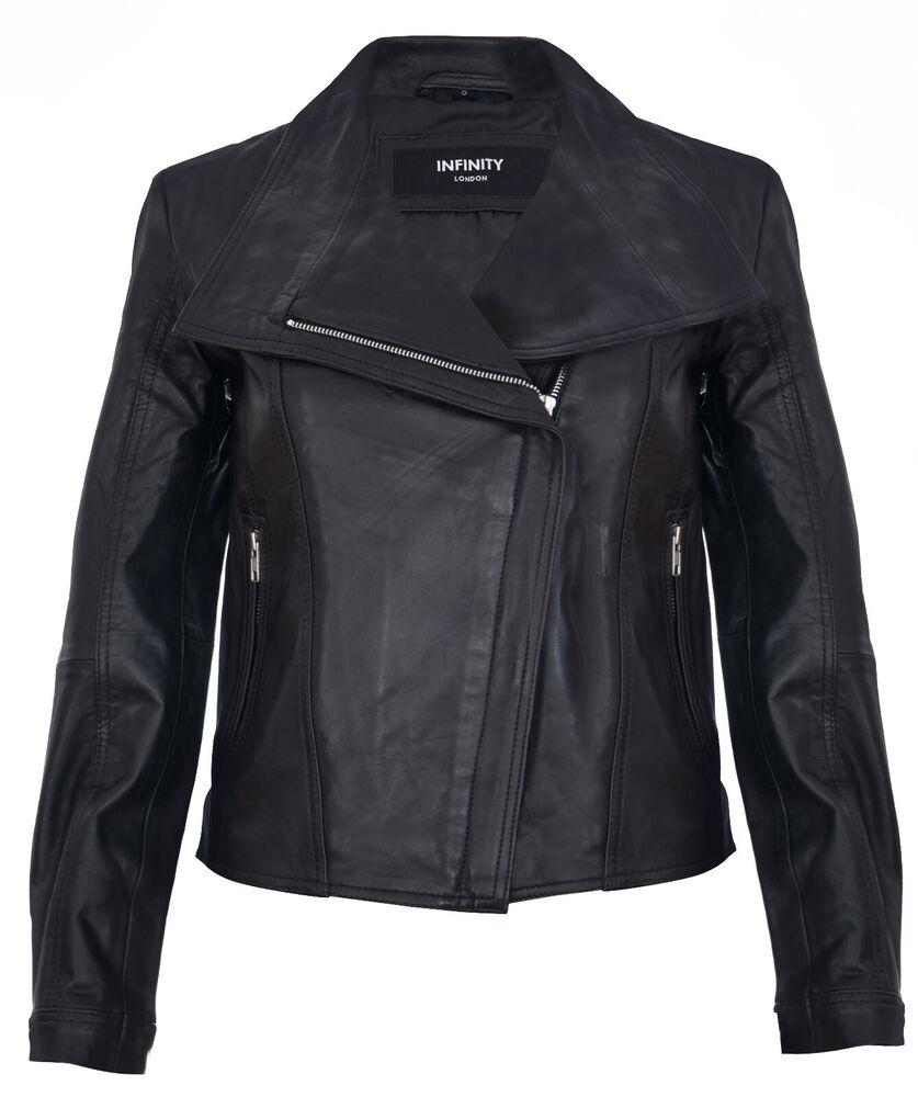 Femmes Cuir Veste Classique Style Motard Châle Véritable Cuir Noir Veste Femmes