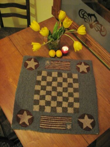 """PRIMITIVE HOOKED RUG PATTERN ON MONKS /""""GAME BOARD SERIES CHECKERBOARD/"""""""
