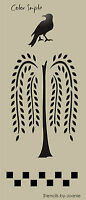 Lg Primitive STENCIL Willow Tree Crow Vertical Country Family Home Deco Art Sign
