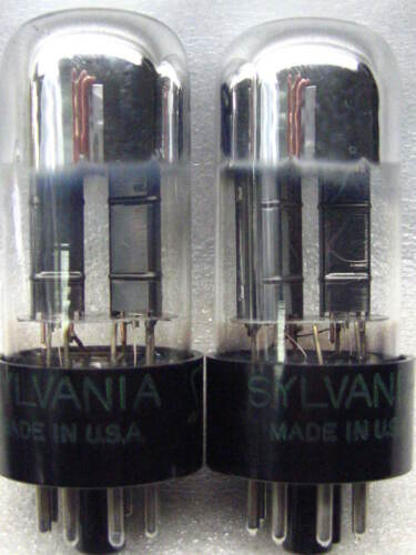 SYLVANIA 6SN7  GTB   TALL GLASS Well-Balanced Gm /& Ip PLATINUM MATCHED PAIR