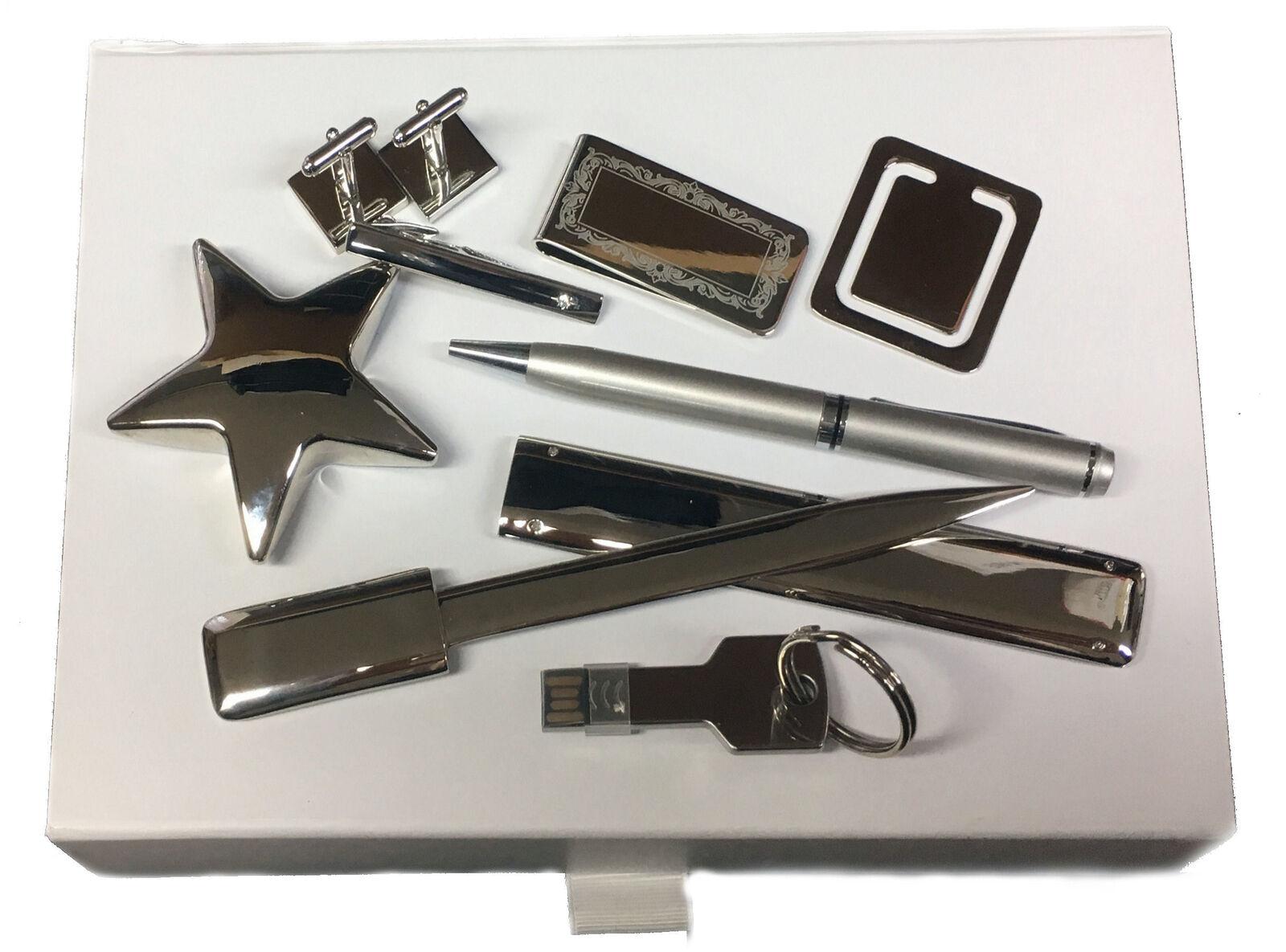 Pince à Cravate Boutons Manchette USB Stylo Boîte Ensemble-Cadeau blue Marine