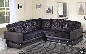 Image Is Loading Black Or Brown Diamante Fabric Material Corner Sectional