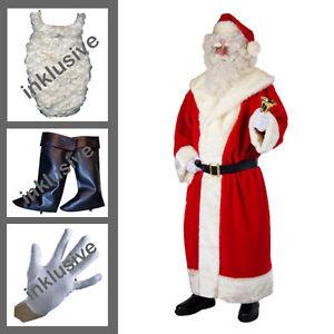 Weihnachtsmann-Plueschmantel-Muetze-Guertel-Bart-Gamaschen-Handschuhe