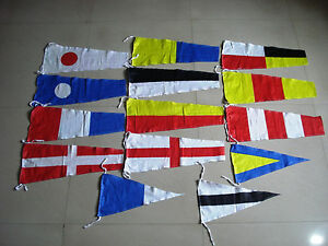 "Naval Signal Pennants - 20"" X 8.5"" -Total 14 Flags - Marine CODE"
