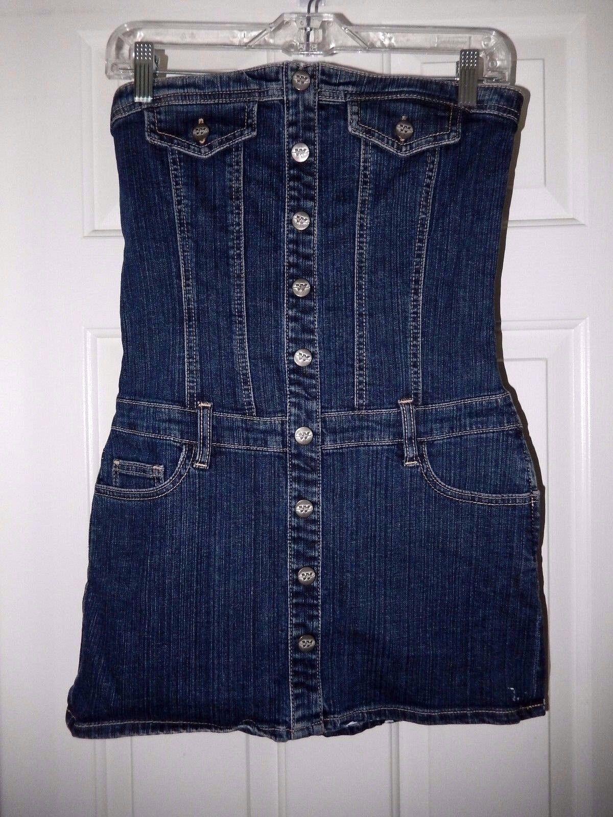 WAX Jeans Denim Mini Dress-S  Side zip   WOW cute