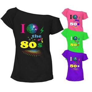 db624178243 I Love The 80s T-shirt Top Off Shoulder Womens Ladies Retro Fancy ...