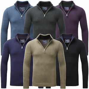 Charles Wilson Men s Cotton Thick Knit Zip Neck Jumper Sweater New ... 26a8320758