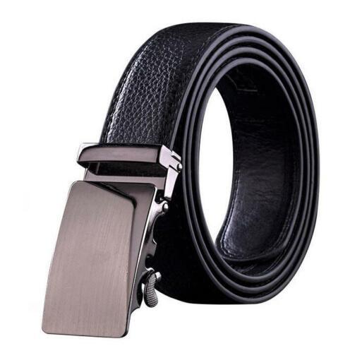 Men/'s Automatic Buckle Belt PU Genuine Leather Waist Ratchet Business Waistband