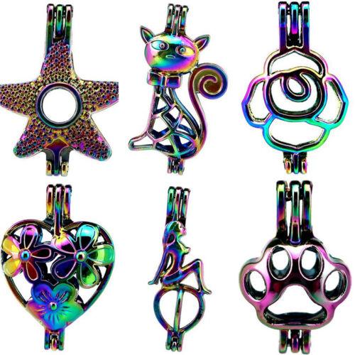 Rainbow Color étoile de mer chat cœur Sirène Perles Cage Pendentif-Mix Style