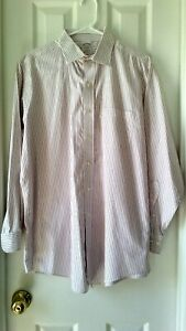 Brooks-Brothers-Men-039-s-White-Pink-Button-Down-Dress-Shirt-Striped-Size-16-2-3-L