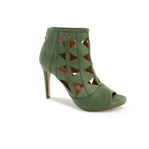 Details about NEW XOXO Womens Sz 8 Olive Green Charisma Suede Peep Toe Cut  Out Ankle Booties ed4c01f39