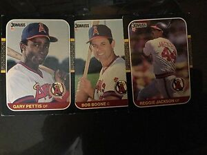 Details About Donruss Angels Gary Pettis Reggie Jackson And Bob Boone Baseball Cards