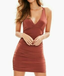 MISSGUIDED-Brown-Slinky-Cross-Back-Ruched-Bodycon-UK-10-US-6-EU-38-camg181