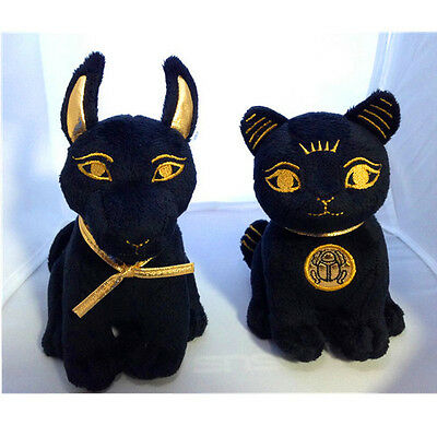 2 Egyptian Bastet & Anubis Stuffed Plush Dolls Combo Set.Cute Little Soft Cuddly