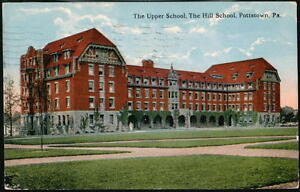 POTTSTOWN-PA-Upper-Hill-School-Antique-Flag-Cancel-Postcard-Early-Vtg-View-PC