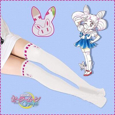 Cute Womens Chibi Usa Rabbit Pantyhose Tights Anime Sailor Moon Cosplay White
