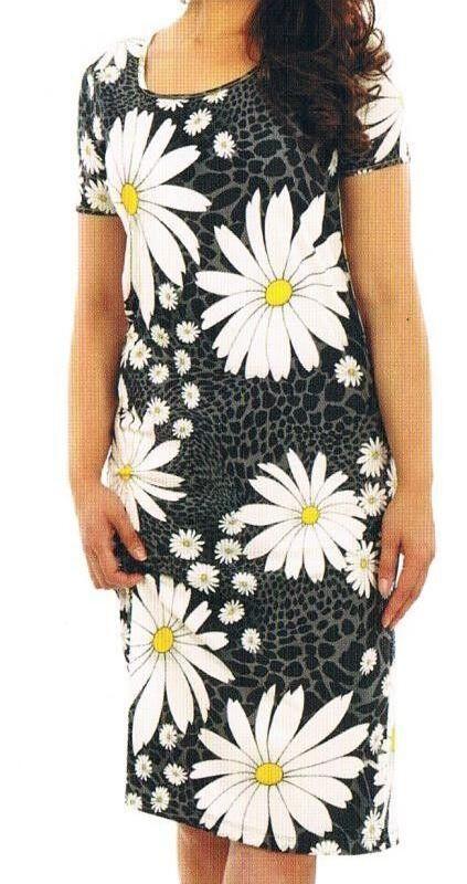 de5a34b9163d4b Kleid, Strandkleid, Badekleid schwarz grau weiß große Blüten Viskose 36 - 54