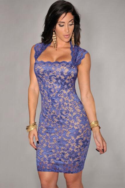 Womens light blue & nude lace bodycon celeb towie dress size 6 8 10 12