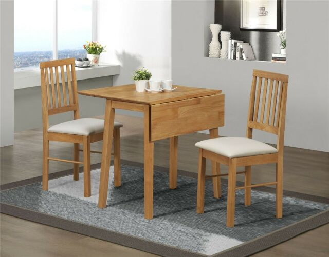 Birlea Drop Leaf Dining Set Table 2 Chairs Solid Wood Oak Finish