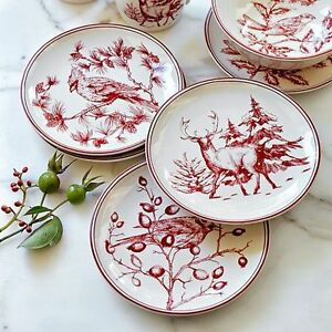 Image is loading New-HOLIDAY-TOILE-Williams-Sonoma-SALAD-PLATES-Set-  sc 1 st  eBay & New HOLIDAY TOILE Williams Sonoma SALAD PLATES Set of 4 CHRISTMAS ...