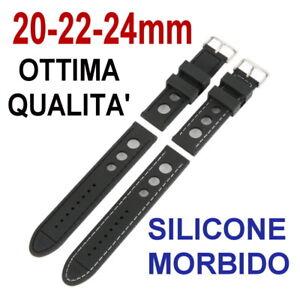 CINTURINO-OROLOGIO-RALLY-RACING-SILICONE-GOMMA-NERO-BIANCO-20mm-22mm-24mm-STRAPS