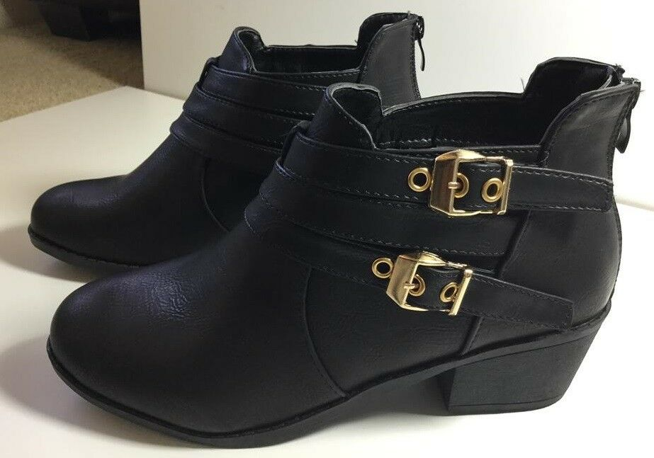 Final Fashion New Women Buckle ankle Synthetic Leather Autumn Winter Boots