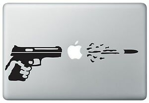Gun Shooting Bullet Through Apple Sticker Skin Macbook Pro