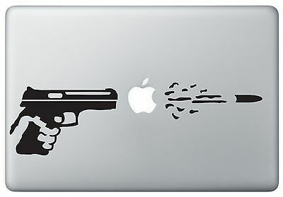 gun shooting bullet through apple Sticker Skin MacBook Pro Mac Air funny decal