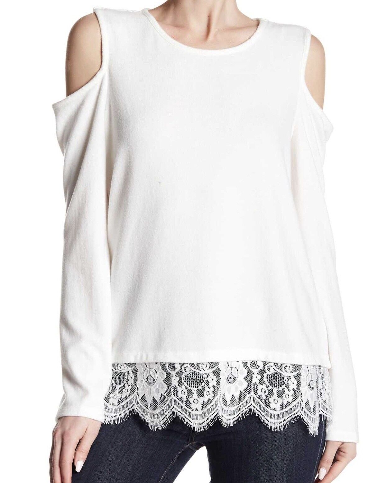 Vince Camuto Cold Shoulder Lace Trim Sweater Blouse Large Women Ivory New Light