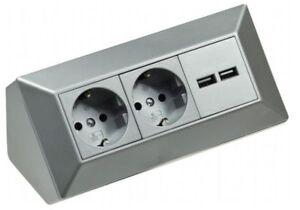 Kuchen Steckdosenleiste 2 Fach Silber Mit USB Aufbau Unterbau