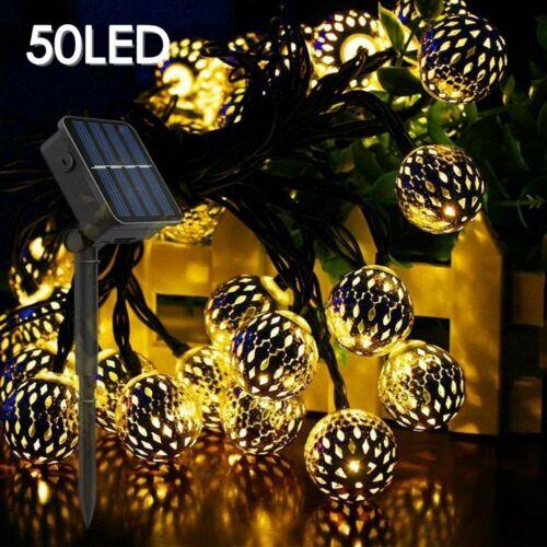Solar Retro Moroccan Ball String Lights Outdoor Garden 50LED Party Fairy Light
