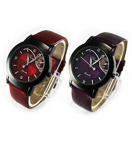 Damenuhr-Strass-Armbanduhr-Quarz-analog-Uhr-Damen-Maedchen-Kunstleder-rot-violett