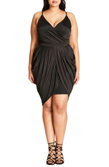 CITY CHIC XL 22 NWT RRP $99.95 GRECIAN DRAPE BLACK DRESS.