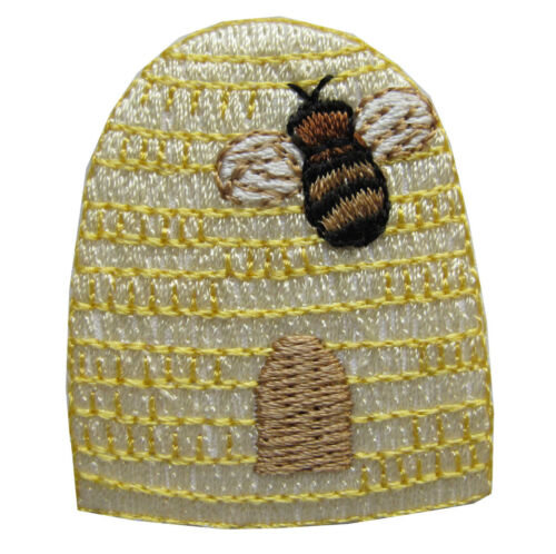 """#4357 1 3//4/"""" Bee/&Bee House Embroidery Iron On Applique Patch"""