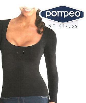 Fiducioso Pompea T-shirt Donna Scollo Profondo Manica Lunga Piacevole Al Palato