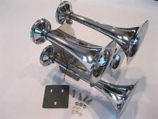 MEGA Chrome 12v Air Trumpet Horns Train Semi Truck Horn FOUR 4 152db Hardware