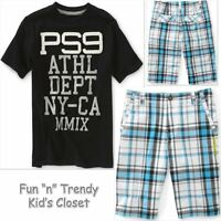 Ps Aeropostale Kids Boys Size 7 8 Tee Shirt & Plaid Shorts 2-pc Outfit Set