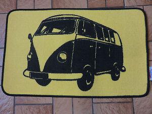 Retro-Camper-Van-court-pile-tapis-tapis-antiderapante-Gel-Arriere-Noir-Jaune-NEUF