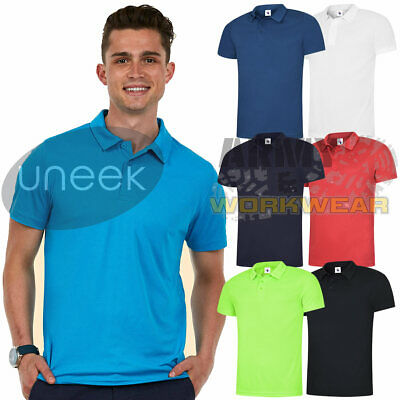 Uneek Mens Ultra Cool Polo Shirt 140gsm 100/% Polyester Breathable Fabric 7 Colours Available