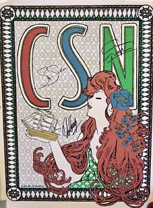 Details About Csn Crosby Stills Nash Signed Concert Poster Wooden Ships Psa Dna Loa