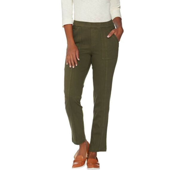 Isaac Mizrahi Live! Petite Knit Denim Pull-on Ankle Jeans Green Size 2P QVC