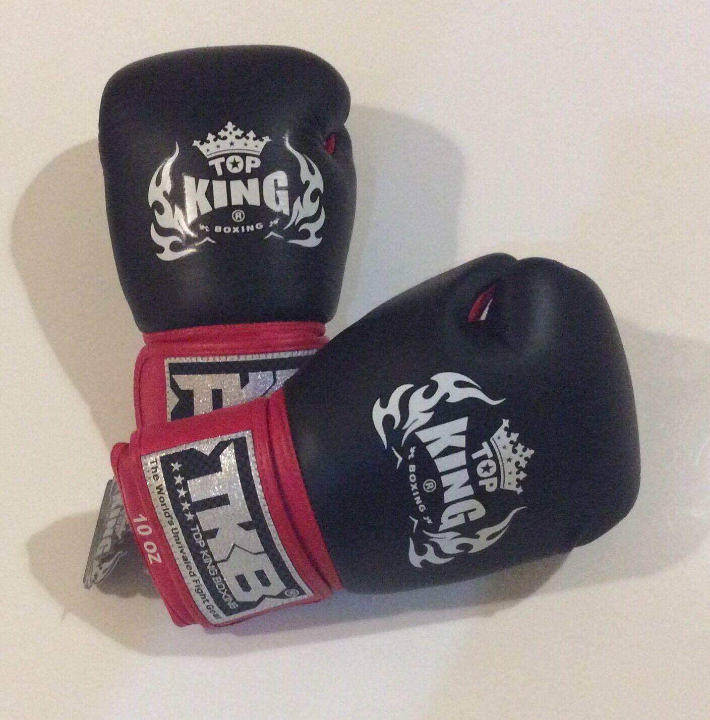 Top King TKBGAV Muay Thai/Boxing Gloves 10oz Blk/Weiß/ROT