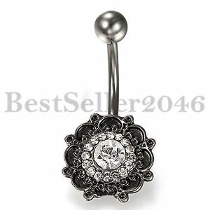 WOmens-Vintage-Belly-Button-Ring-Dangle-Navel-Ring-w-CZ-Body-Piercing-Jewelry