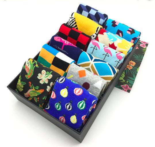 Mens Colorful Socks Fancy Novelty Funny Patterned Design Dress Socks 5pair/lot