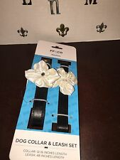 NEW FF&Co Matching Black Faux Leather Dog Collar/ Leash X-Small XS W/ Flower