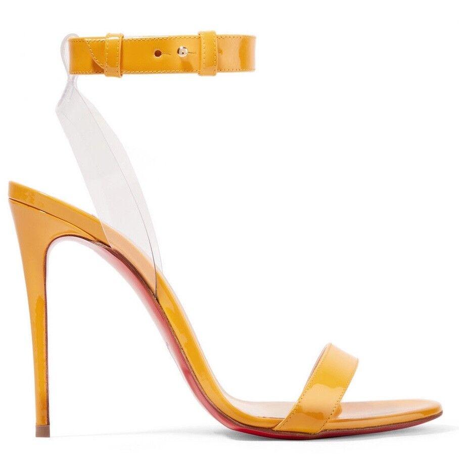 Christian Louboutin Jonatina 100 Yellow Topaz Ankle Strap Sandal Heel Pump 37