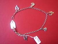 Tres Beau Bracelet Charme Vintage 1970 Argent 925 Neuf 3 Gr/new Charm Bracelet