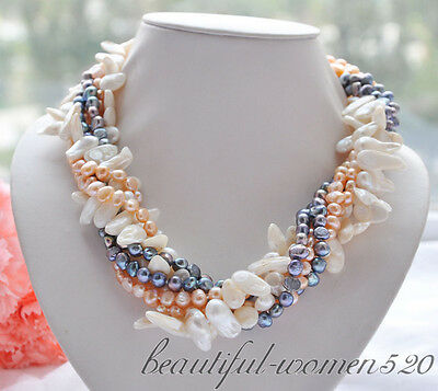 """Z4682 6strands 20"""" WHITE pink black BAROQUE freshwater PEARL NECKLACE"""